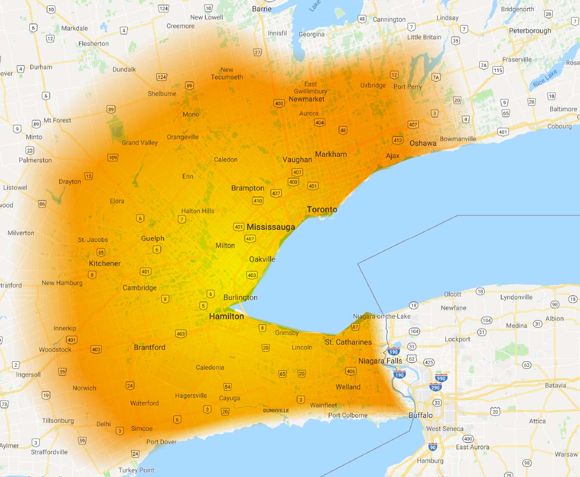 Toronto Spray Foam Roofing & Insulation Area Map